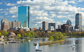 The City of Boston shows the harbor and buildings