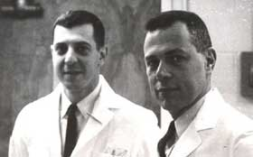 A historic picture of two Nephrologists at Tufts Medical Center in Boston.