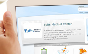 An image of the mytuftsmedicalcenter patient portal.