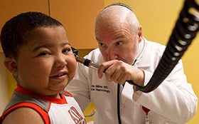 Pediatric nephrologist, Lawrence Milner, MD and his patient at Tufts Children's Hospital.