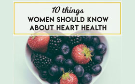 Fruit in a heart shaped bowl. 10 things women should know about heart health.