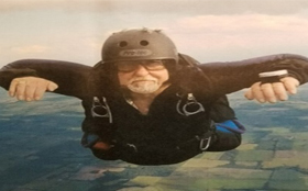 Frank Hewitt sky diving weeks after heart transplant