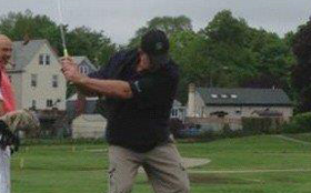 Pat playing golf before his diagnosis