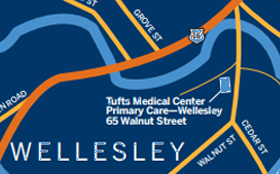 A map showing the Wellesley Primary Care location