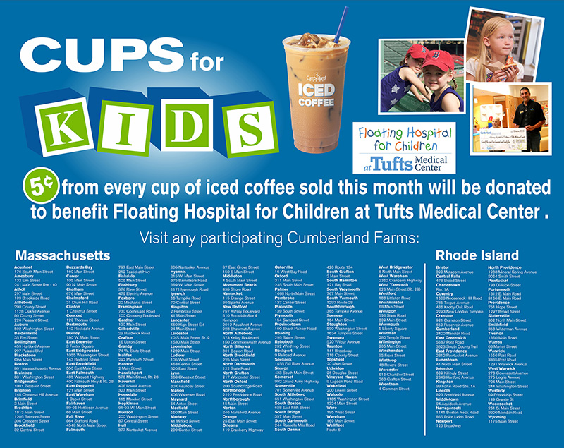 Cups for Kids 2016 Store Locations