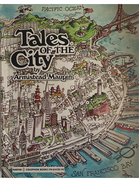 A piece of art depicting Tales of the City, part of the Neurology, Illustrated exhibition at Tufts Medical Center in Boston.