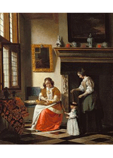 Teaching a Child to Walk by Pieter de Hooch, a piece in the Neurology, Illustrated gallery at Tufts Medical Center in Boston, MA.