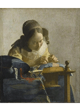 The Lacemaker by Johannes Vermeer, a piece in the Neurology, Illustrated gallery at Tufts Medical Center in Boston, MA.