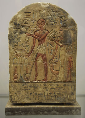 A piece of art depicting a stele from Egypt, part of the Neurology, Illustrated exhibition at Tufts Medical Center in Boston.