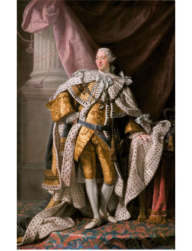 A piece of art depicting King George III, part of the Neurology, Illustrated exhibition at Tufts Medical Center in Boston.