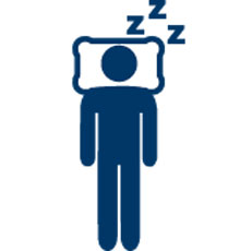 Graphic of a person sleeping in bed