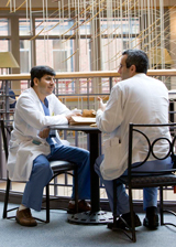 Residents talking at Tufts Medical Center in Boston, MA.