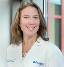 Ashley Rogerson, MD, a spine surgery expert at Tufts Medical Center.