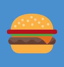 A drawing of a hamburger for Tufts Medical Center in downtown Boston, MA.