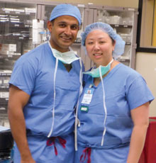 Married couple Dr. Chatterjee and Dr. Chen are both surgeons at Tufts Medical Center.