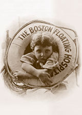 One of the most recognizable and iconic images of the early era of pediatric medicine in Boston is the 1914 photo of an unidentified young boy aboard the Floating Hospital for Children ship.