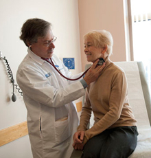 A cardiologist and his patient at Tufts Medical Center in Boston.