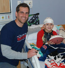 New England Patriots kicker Stephen Gostkowski visited Tufts Children's Hospital on February 9, 2016.