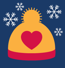 An illustration of a hat and snowflakes. Keep warm!