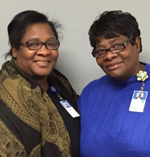 Sisters Ina Butler and Claudette Fenton have worked 72 years combined at Tufts Medical Center in Boston, MA.