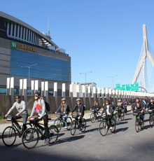Bikers on a Tour of Boston