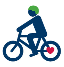 Graphic of a person riding a bike
