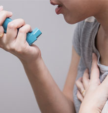 Patient with an inhaler