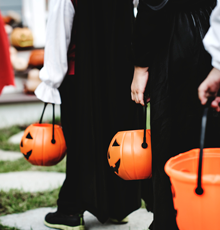 Orange pumpkin trick or treat buckets