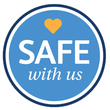 "A logo that says ""Safe with us"""