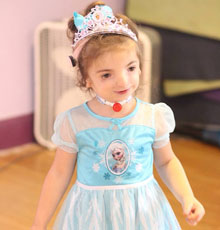 Cassidy is a patient of pediatric ENT at Floating Hospital for Children who has treacher collins syndrome.