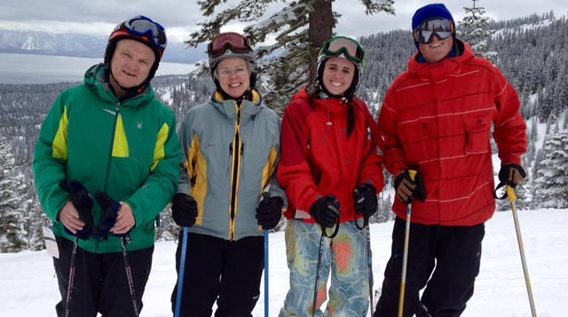 Frank Kelliher, a patient of Tufts Medical Center, and his family on a ski trip.