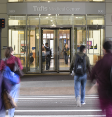 An image of the front doors of Tufts MC