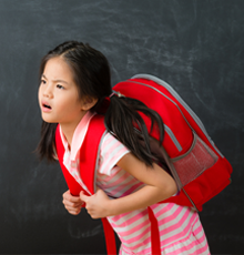 Asian girl with a backpack on