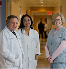 Jack K. Erban, MD, Clinical Director of the Tufts Medical Center Cancer Center, Shital S. Makim (center), Chief of Breast Imaging, and radiology technician.