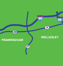 Map of Framingham and Wellesley neurology locations