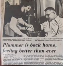 A news clip of Albert Plummer's heart transplant in 1985