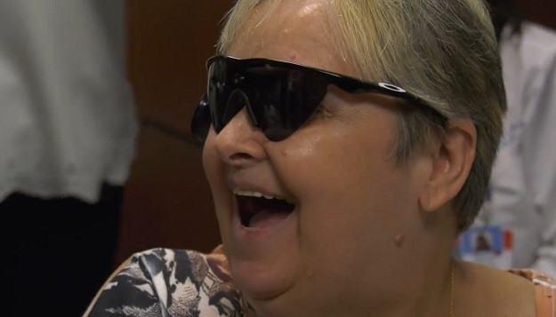 Patient smiles because she can see for the first time in 4 years