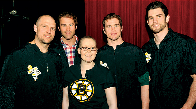 Floating Hospital patient with Bruins players