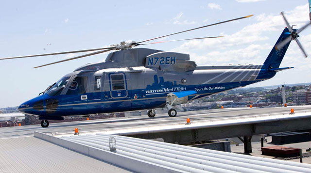 The medflight helicopter on the roof of Tufts MC in downtown Boston.