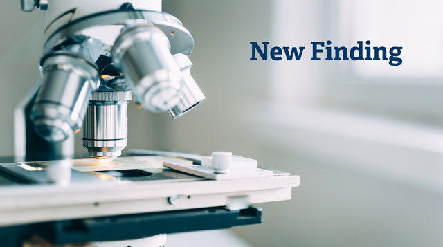A graphic that says New Finding and depicts a microscope.