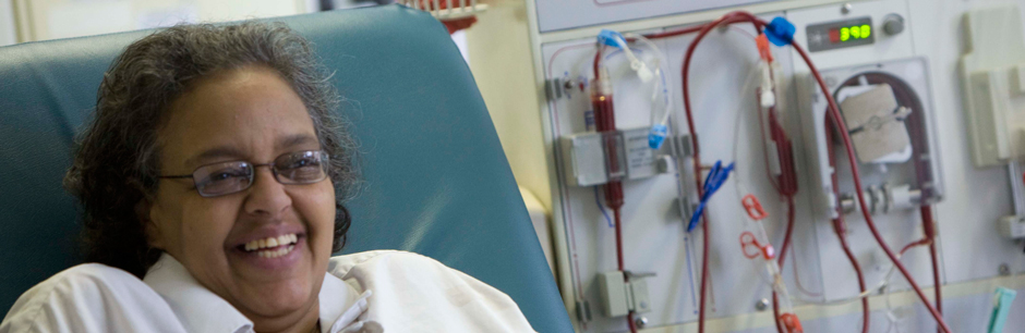 A dialysis patient at Tufts Medical Center.